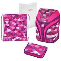herlitz Motion Plus 4-tlg. pink cubes mit Turnbeutel