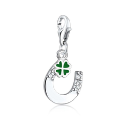 Elli Charm-Einhänger Glücksbringer Kristalle 925 Silber, Hufeisen grün