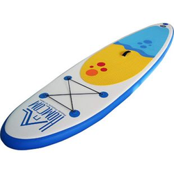 HOMCOM Aufblasbares Surfbrett mit Paddel weiß, blau 305 x 76 x 10 cm (LxBxH)   Surfboard inkl. Ausrüstung Board aufblasbar Strand