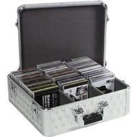 Roadinger CD-DVD-Koffer CD-Case ALU poliert, für 100 CDs, mehrschichtig verleimtes Holz, silber