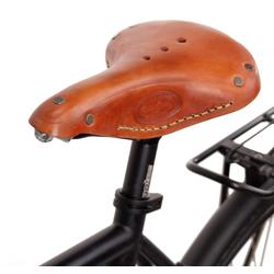 Gusti Leder Fahrradsattel Bernard H., Fahrradsattel Ledersattel Sattel Vintage-Sattel Retro-Sattel Fahrrad Braun Leder gelb