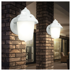 etc-shop LED Laterne, 2er Set Wand Leuchten Außen Beleuchtungen Lampe Licht Laterne Glas satiniert