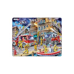 Larsen Puzzle Rahmen-Puzzle, 45 Teile, 36x28 cm, Feuerwehrmänner, Puzzleteile