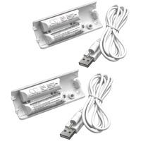 vhbw 2x Akku für Nintendo Wii Remote Plus Gamepad (400mAh, 2,4V, NiMH) 400 mAh weiß