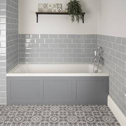 Einbau-Badewanne 170x70cm Weiß mit Verkleidung in Hellgrau - Richmond