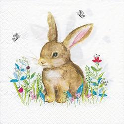 """Papierserviette """"Hase Blumenwiese"""", 33 x 33 cm, 20 Stück"""