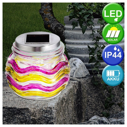 etc-shop LED Dekolicht, LED Solar Lampe Steh Tisch Glas Balkon Veranda Leuchte Windlicht Dekoration pink Globo 3357-12