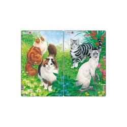 Larsen Puzzle 2er-Set Rahmen-Puzzle, 10 Teile, 28x18 cm, Katzen, Puzzleteile