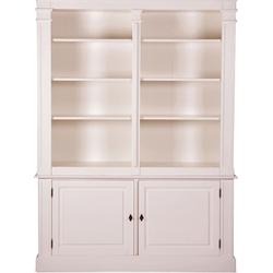 Casa Padrino Landhausstil Wandschrank Antik Weiß  160 x 48 x H. 215 cm - Landhausstil Möbel - Bücherregal
