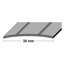 LM-Übergangsschiene B.38mm L.90cm Alu.silberf.2 Rillen mittig gel.PG