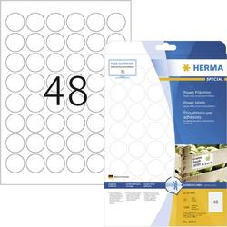 Herma 10915 Etiketten Ø 30mm Papier Weiß 1200 St. Permanent Kraftkleber-Etiketten, Universal-Etike