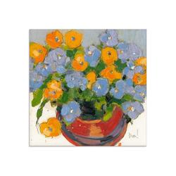 Artland Glasbild Gepflanzte Blume I, Blumen (1 Stück) 40 cm x 40 cm x 1,1 cm