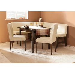 Eckbankgruppe Susanne, (Set, 4 tlg), (Eckbank, Tisch und 2 Stühle), Bezug in Kunstleder, Eckbank langer Schenkel 205 cm, Tisch ist ausziehbar (Breite 120-180 cm) natur
