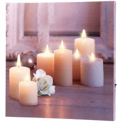 "Wandbild ""Kerzen mit Rose"" mit flackernder LED-Beleuchtung, 30 x 30 cm"