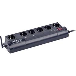 Gembird EG-PMS2-WLAN Programmierbare Überspannungsschutz-Steckdosenleiste 6fach Schwarz Schutzkonta
