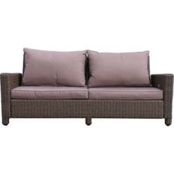 Grasekamp Rattan Lounge Sofa 200cm Couch Futon  Couchgarnitur Braun