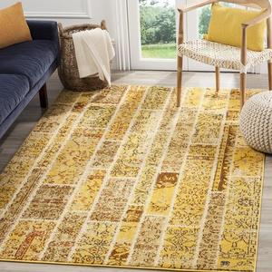 Safavieh Gewaschener Teppich zeitgenössisches Muster, MNC216, Gewebter Polypropylen, Gelb / Mehrfarbig, 160 x 230 cm