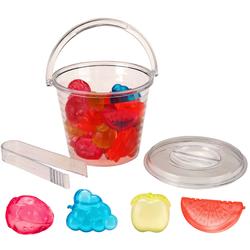18 Eiswürfel im Früchtchen Format mit Eimer mit Zange - Eiseimer mit Eiswürfelobst