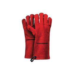 Feuermeister Grillhandschuhe Premium BBQ Grillhandschuhe aus Spaltleder in Rot Größe 12