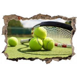 DesFoli Wandtattoo Tennis Tennisball Tennisplatz D0613 bunt 60 cm x 38 cm