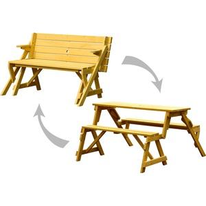 dobar 29301FSCe Praktische Garten Sitzbank 2 in 1 Kombination aus Tisch und Bank FSC-Holz, Sitzgarnitur, Hellbraun, 138 x 144 x 77 cm