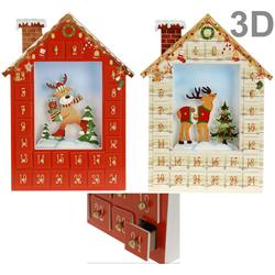 Adventskalender HÄUSCHEN zum selbstbefüllen - 3D Motiv Weihnachtskalender aus Holz