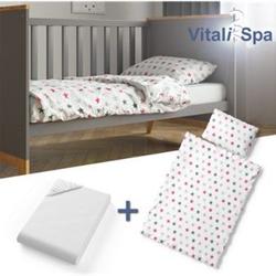 VITALISPA Kinderbettwäsche 135x100 cm Bettset Bettbezug Laken 3 Teilig Rosa Sterne