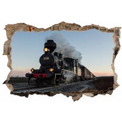 DesFoli Wandtattoo Eisenbahn Lok Lokomotive D0497 bunt 150 cm x 98 cm