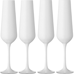 BOHEMIA SELECTION Sektglas (4-tlg), Kristallglas, 200 ml weiß Ø 5 cm x 25 cm
