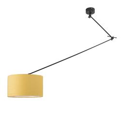 Hängelampe schwarz mit Lampenschirm 35 cm gelb verstellbar - Blitz I