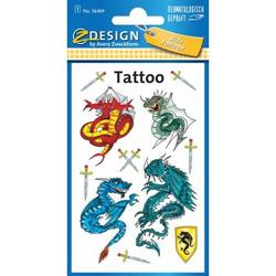 Tattoos 76x120mm bunt 1 Bogen Motiv Drachen