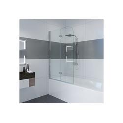 IMPTS Badewannenaufsatz R19Y22, Glas Alu, (2 tlg., 2 TLG), 120*140cm klappbar Duschtrennung Duschwand 120 cm x 140 cm