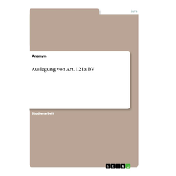 Auslegung von Art. 121a BV als Buch von Anonym