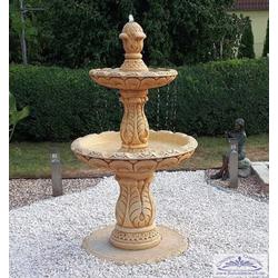 BAD-7192 Kaskadenbrunnen mit 2 Brunnenschalen im antiken Gartenbrunnen Stil 162cm 250kg (Farbe: ocker)
