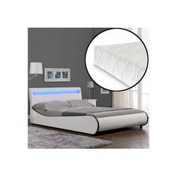 Corium Polsterbett, LED Modernes Polsterbett + Matratze 140x200cm Kunst-Leder Weiß Bett CORIUM weiß 149 cm x 221 cm x 83 cm