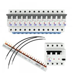 Set 1x Fi-Schalter 40A 30mA 12xAutomat B16 A Brücke 3P Phasenschiene 12p 10mm2 2961