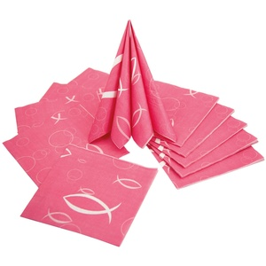 20 Fisch Servietten Kommunion Taufe Konfirmation Deko Tischdeko in rosa