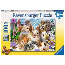 Ravensburger Puzzle Puzzle, 100 Teile XXL, 49x36 cm, Hasen-Selfie, Puzzleteile