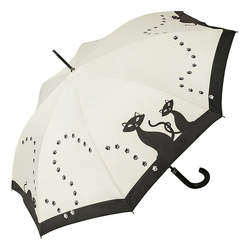 von Lilienfeld Stockregenschirm Regenschirm schwarze Katzen, Auf-automatik, Ledergriff