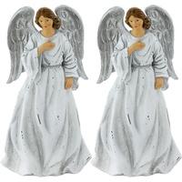 2er Set Schutz Engel Krippe Figur Weihnachten Dekoration 23 cm Advent X MAS Schmuck