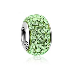 Nenalina Charm-Einhänger Kugel Bead Violett Kristalle 925 Silber grün
