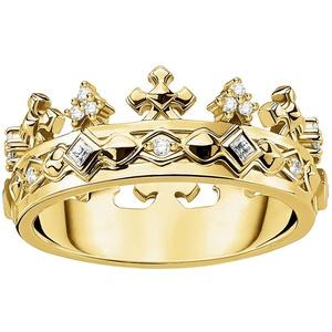 Thomas Sabo TR2302-414-14 Ring für Damen Krone Silber vergoldet, 56/17,8