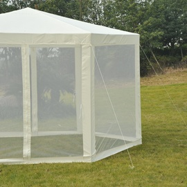 Outsunny Gartenpavillon Ø 3,90 m creme