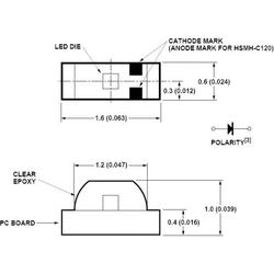 Broadcom HSMC-C120 SMD-LED 0603 Rot 90 mcd 155° 20mA 1.9V Tape cut