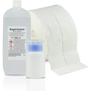 N&BF Nagel Cleaner Set 1000ml + Dispenser Pumpflasche + 1000 Zelletten Cellulose Pads (2 Rollen à 500 Stück) - 70% Isopropanol-Alkohol isopropylalkohol 1L – für Gelnägel – Nagelreiniger (Blau 150)