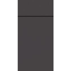 DUNI Duniletto-Slim Bestecktasche, Serviettentasche aus hochertigem Material, Maße: 40 x 33 cm, 1 Karton = 4 x 65 Stück, granite grey