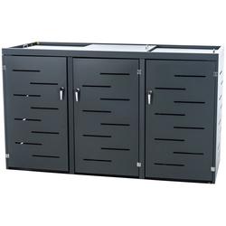 CLP Mülltonnenbox Tanis, Mülltonnenverkleidung aus Edelstahl Mülltonnenbox Unterstand 2-3 Mülltonnen bis 240 L