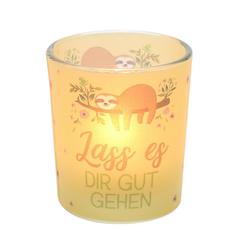 Dekohelden24 Windlicht Windlichtglas inkl.1 Teelicht, Lass es dir gut (1 Stück)