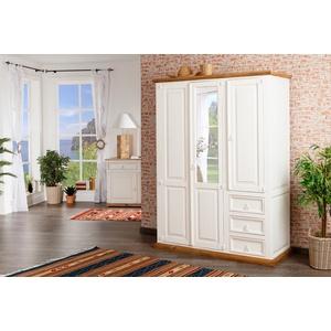 Schlafzimmerschrank, Kleiderschrank mit Spiegel, MEXICO, weiß, Shabby Chic, Landhausstil, Massivholz