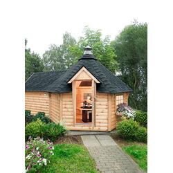 Wolff Grillkota 9 de luxe, BxT: 426x630 cm, (Set, mit Sauna-Anbau und schwarzen Schindeln)